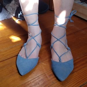 Blue Leather Steve Madden Strappy Flats